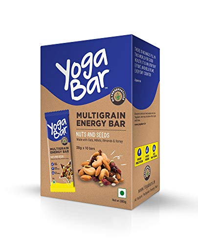Yogabar Multigrain Energy Bars - 380gm (Nuts and Seeds, 38gm x 10 Bars)