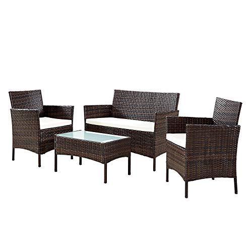 Neo - Set di mobili da giardino, patio o giardino d'inverno, in rattan, 4 pezzi, con tavolo, divano...
