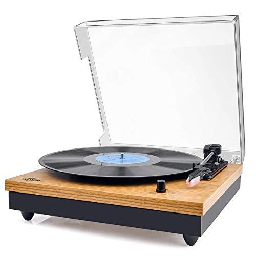 Giradischi Vinile,VIFLYKOO Giradischi Vintage Giradischi Bluetooth a 3 Velocità 33/45/78 U/min con...