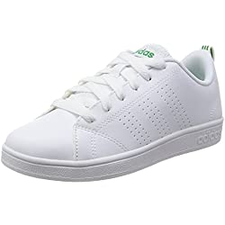 Adidas VS Advantage Clean K, Baskets, Unisexe, Enfant, Blanc (Footwear White/Footwear White/Green 0), 37 1/3 EU