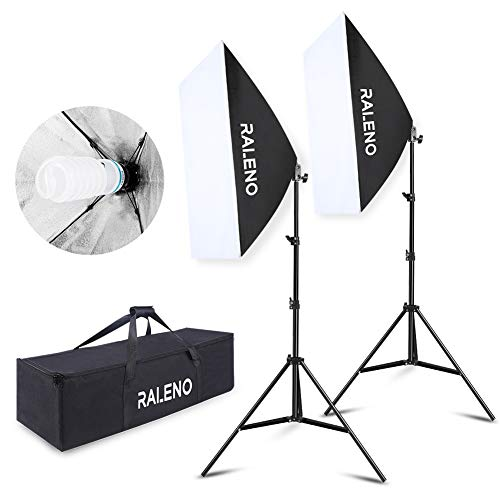 Softbox Studio Fotografico, RaLeno 50x70cm Soft Box Kit con 2pcs E27 Socket 5500K Lampadina Foto...
