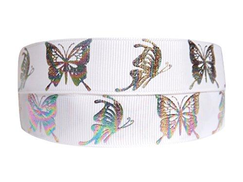 2 m x 22 mm diseño de Luca Johnson UK blanco y diseño de mariposas de colores cinta de groguén decorativa para tartas de cumpleaños, pasteles, diseño de el día de la madre