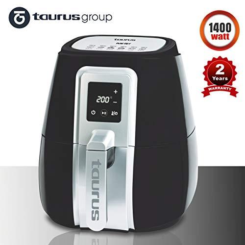 Taurus Digital Air Fryer Fun Fry-1400W, Digital Temp and Time Control, Rapid Heat Convection, Detachable 2.9L NonStick Basket, 4.2L Cooking Pan, (Black/Silver)