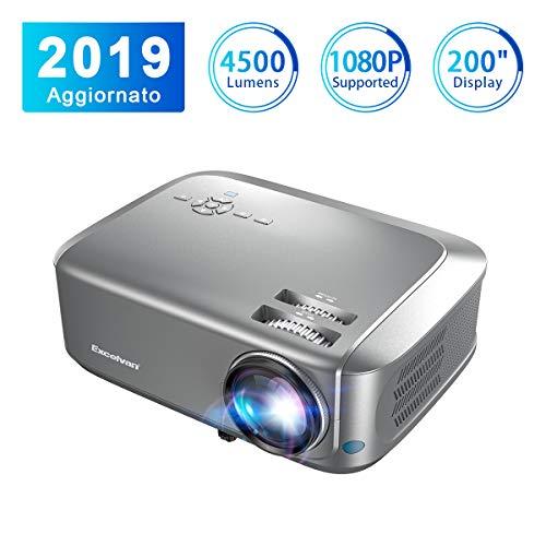 Proiettore Excelvan Videoproiettore 4500 Lumen 1080P/USB/VGA/SD/HDMI Risoluzione Nativa HD 1280*768P...