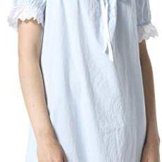 FLYCHEN Mujer Camisones Ropa de Dormir Camisón de Color Liso Manga de Soplo