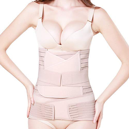 elebae 3 in 1 Postpartum Support Recovery Belly Wrap Waist Pelvis Belt Shapewear for Women (Skin Colour, Medium)