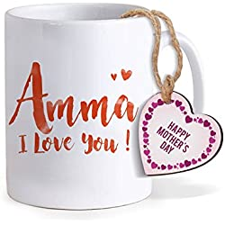 TIED RIBBONS Ceramic Mother's Day Special Gift with Wooden Tag Printed Coffee Mug, 320ml(White)