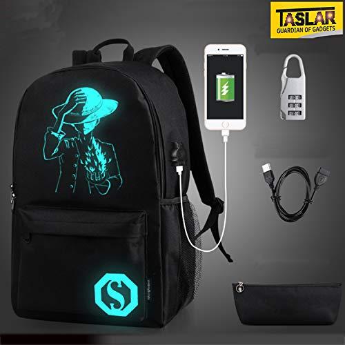 TASLAR Unisex Anime Luminous Backpack Fashion Notebook Laptop Middle School College Bags Travel Daypack with USB Charging Port Anti-Theft Lock & Pencil Pen Case Handbag (Black)