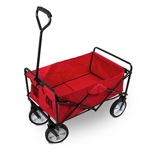 Julido Faltbarer Bollerwagen Transportwagen Handwagen Gartenwagen Gartenkarre Zusammenklappbar Farbe: Rot