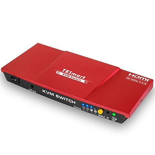 TESmart 2fach-HDMI-KVM-Switch - 4K-Ultra-HD mit 3840 x 2160 bei 60 Hz 4:4:4;2 Stck 5ft/1,5m KVM-Kabel unterstützt USB-2.0-Gerätebedienung bis max. 2 Computer/Server/DVR (Rot)