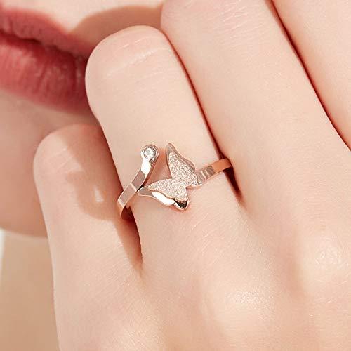 bigboba sencilla apertura anillo de plata forma de mariposa Anillo de Diamante Joyería Accesorios para las mujeres niñas