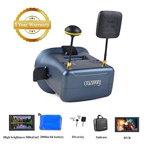 Crazepony-UK FPV Goggles Crazepony VR008 Pro Occhiali FPV Video Headset with DVR 4.3 Inch 5.8G 40CH...