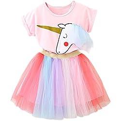 NNJXD Niñas Vestidos Unicornio Conjunto de Ropa de 2 Piezas con Chaquetas Rosas + Faldas de Arco Iris de tutú tamaño(90) 1-2 Años Rosa