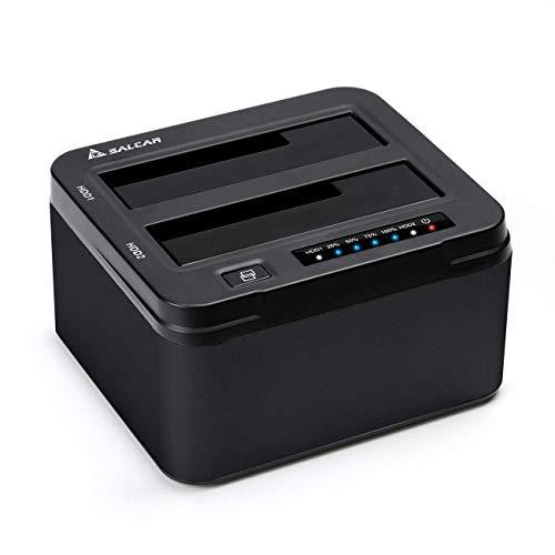 Salcar USB 3.0 non in linea Clone Docking Station 2-bay ottimizzato per hard disk HDD / SSD da 2,5 e...