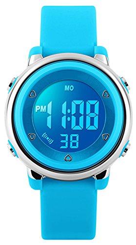 Digitale polso per bambine, bambini 5 atm impermeabile sport orologio con data/allarme/cronografo/7 LED, per bambini all' aperto sport orologi da polso per piccoli ragazzi ragazze - blu by RSVOM