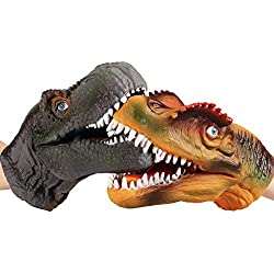CampHiking Dinosaur - Puppeta de Mano de Goma Suave con diseño de dragón y Cabeza de Dinosaurio para niños y Adultos (2 Piezas)