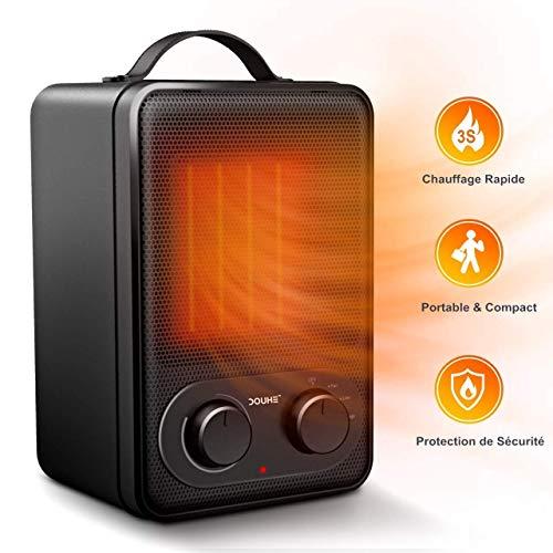 Mini Radiateur Soufflant, Ceramique Chauffage d'appoint avec Thermostat, 2''S Chauffage Soufflant Rapide pour pièce 4-18㎡Mobile Électrique 1800 W, Ventilation Chaud Froid Ventilateur Professionnel