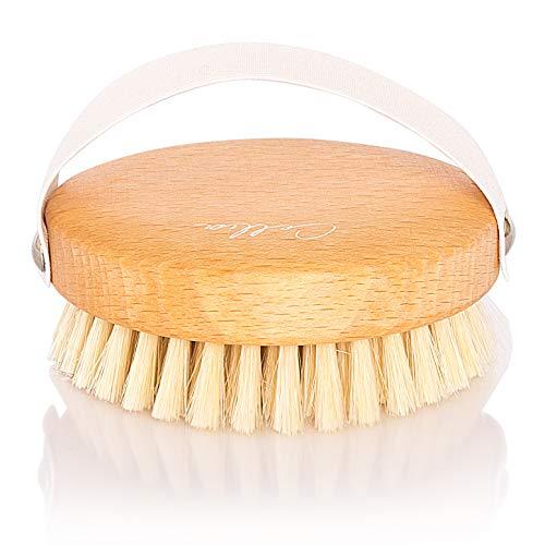 CELLIA Körper-Bürste rund 100{23c6a1d8203847f6b3f510cdf1c291557e2760b5cee99f290e2c069a1c2cd364} Naturborsten, regionales, FSC-zertifiziertes Buchenholz, zur Trockenbürsten-Massage (dry brush), Lymphdrainage und Bekämpfung von Cellulite, hergestellt in DE