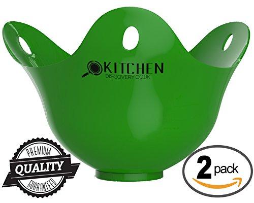 Escalfador de huevos – Paquete de 2 para cocinar huevos escalfados -¡GARANTÍA DE POR VIDA! Contenedores para escalfar de la mejor calidad, escalfador de huevos de silicona para cocinar huevos escalfados perfectos. Rápido y fácil de usar, ¡¡Huevos listos en pocos minutos!! Estos revolucionarios escalfadores de huevos son el futuro de la cocina fácil y reemplazarán los utensilios de cocina insalubre / Taza de huevos / Sartén escalfadora de huevos / Escalfador para microondas de huevos.