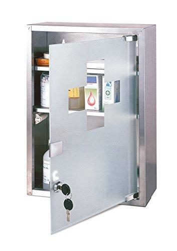 axentia Armadietto per medicinali in acciaio INOX - Cassetta porta-medicinali a 3 ripiani, dotato di...