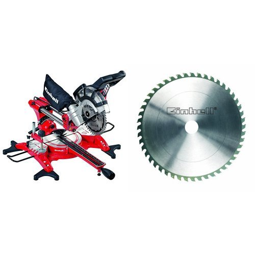 Einhell TH-SM 2131 Dual - Ingletadora telescópica + Hoja de sierra circular (metal duro, 210 x 30 x 2,8 mm, 48 dientes)