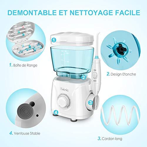Hydropulseur Jet Dentaire Électrique iTeknic Irrigateur Dentaire Oral Professionnel avec 7 Buses de Rechange Rotation 360°, 10 Pressions Rég... 22