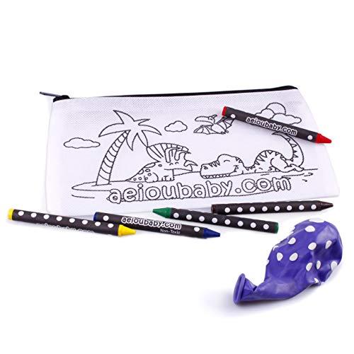 10 Astucci da Colorare | 10 Bustine singole con 5 Colori a Cera e un Palloncino | Regalo per bambini...