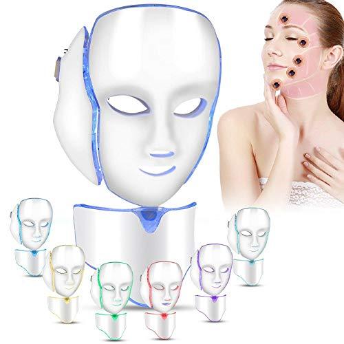 7 couleurs LED masque facial de traitement de la lumière avec Cou, rajeunissement beauté de masque facial, soin visage anti-rides anti-acné ... 21