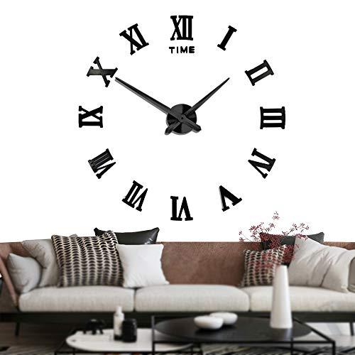 Orologi Muto fai da te Grande Frameless Orologio da Parete Numeri Romani 3D Adesivi Specchio per le Decorazioni Home Office - 2 Anni di Garanzia (Nero)