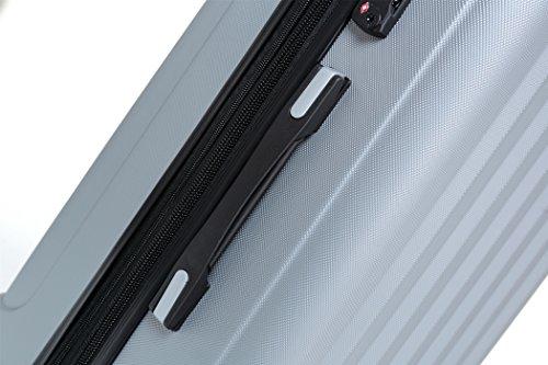 2080 TSA-Schloß Zwillingsrollen 3 tlg. Reisekofferset Koffer Kofferset Trolley Trolleys Hartschale in 12 Farben (Silber) - 4
