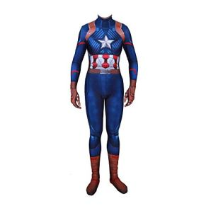 Cosplay Ropa Marvel Movie Captain America Cosplay Disfraz Lycra Medias Siamesas Impresión Digital 3D Vestido Navideño…