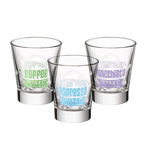 Bicchierino caffeino time 8,5cl bicchieri da caffe' tazzina in vetro decorato atossico verde chiaro 1 pz
