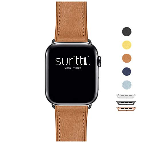 Suritt Cinturino per Apple Watch in Pelle Rio (6 Colori Disponibili). 3 Colori di Fibbia e Adattatore da Scegliere (Nero - Argento - Oro) (Series 1, 2, 3 e 4). (42mm - 44mm, Saddle Brown/Black)