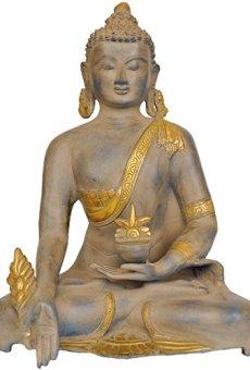 CraftVatika Grande latón Buda Statue-Medicine Pose Envejecido Acabado Escultura el Budismo Tibetano Antiguo Figuras