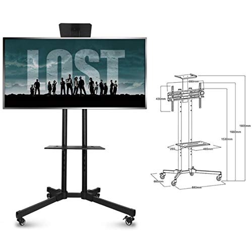 Carrello TV Universale, Supporto Per TV Da Pavimento, Per TV LED LCD Da 39-85 Pollici, 360 ° Di...
