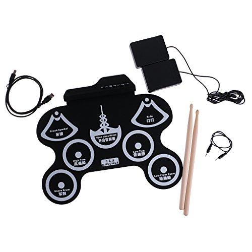 MagiDeal 7 Almohadilla USB MIDI Portátil de Silicona Roll Up Plegable Batería Electrónica Musical