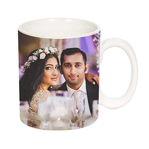 VA International Value Adds Personalised Photo Ceramic Coffee Mug, 325 ml, White