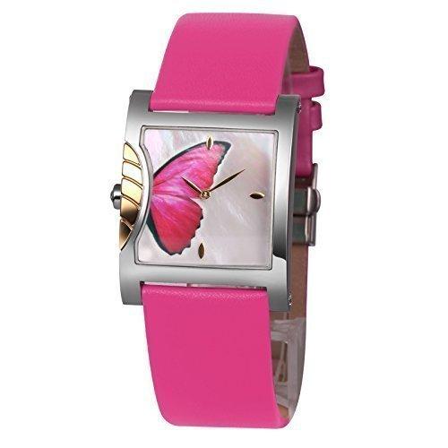 Time100 W50265L.02A de la manera de la mariposa de la joyería de la pulsera de la caja de regalo de lujo de la esfera de la correa de cuero de los relojes de Pareja