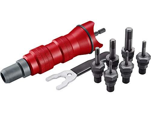 Profi Nietmutternaufsatz für Bohrmaschine oder Akkuschrauber für Nietmuttern M3-M10 aus Alu, Stahl und Edelstahlnieten (6 Nietaufsätze) Niet-Gerät Niet-Vorsatz Niet-Aufsatz Fortum 4770654
