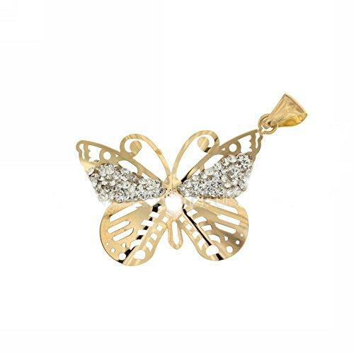 Colgante Charm mariposa de oro 18kt y circonitas bianchi- 18carat Gold Pendant Butterfly