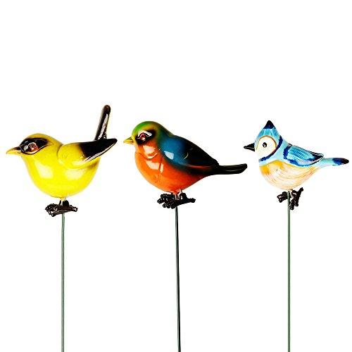 Wonderland, Set of 3 Beautiful Plastic Bird Garden Sticks/Stakes/Planter Decoration, Garden Decor, Home Decor, Balcony Decoration Items