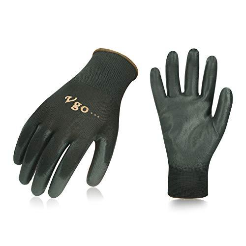 Vgo 30 paia guanti da lavoro e giardinaggio in PU, guanti da giardino, edile, multifunzione (9/L,...