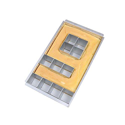 Stampo regolabile per torte fai da te in alluminio antiaderente, con numeri e lettere, facile da...
