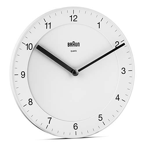 Braun BC06W Orologio da Parete Analogico Classico, Diametro di 20 cm, colore bianco.