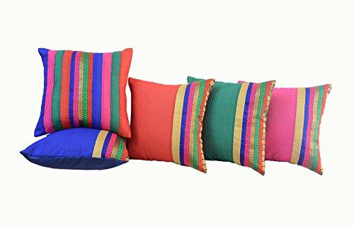 "meSleep Brocade 5 Piece Satin Cushion Cover Set - 16""x16"", Multicolour"