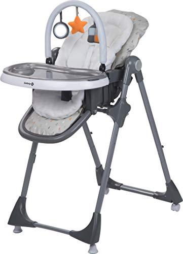 Safety 1st 2775191000 - Seggiolone Kiwi 3 in 1, schienale e poggiapiedi regolabili fino alla posizione sdraiata, incl. tavolino con vassoio rimovibile e arco di gioco, grigio caldo