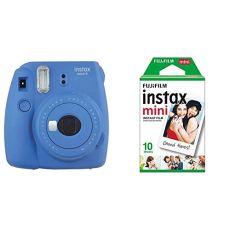 Fujifilm Instax Mini 9 - Cámara instantánea, Cámara con 1x10 películas, Azul Marino + Instax Mini Brillo - Pack de 10 películas fotográficas instantáneas (1 x 10 Hojas), Color Blanco