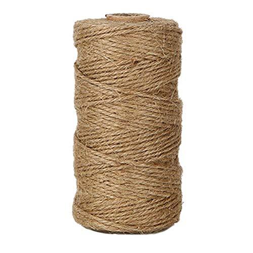 Rmeet Cuerda de Cáñamo,1.5MM Cordel de Yute 3 Capas Natural Hilo para el Embalaje de Regalo Artesanía de Jardín Artesanía Bodas 100 Metros Marrón