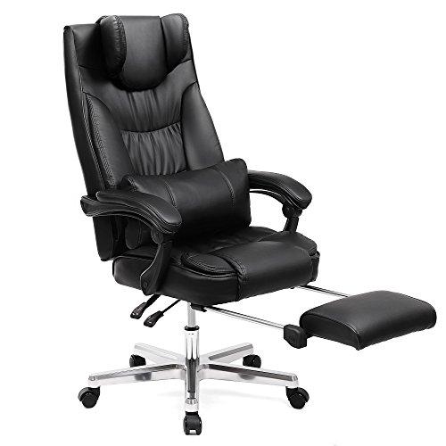 SONGMICS Erstellt, Luxus Bürostuhl mit klappbarer Kopfstütze ausziehbarer Fußablage extra großer orthopädischer Chefsessel ergonomischer Gaming Stuhl schwarz OBG75B