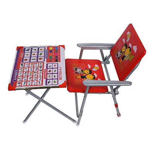 Metro Kids Durable Wooden Folding Study Table Chair Set (3-8 Years,Multicolour)
